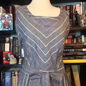 Young Threads New York Gray Striped Dress 4X